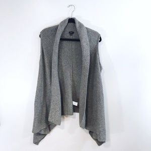 [Talbots] Gray Waterfall Open Front Knit Vest